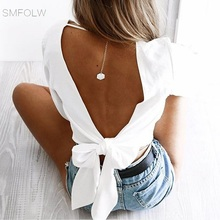ФОТО smfolw sexy open back bandage bl shirts women 2018 blusas summer elegant lantern sleeve red bow tie casual cropped tops