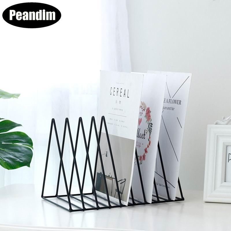 PEANDIM Nordic Iron Stripe Shelf Book Magazine Newspaper Shelf Rack Multi-use Storage Holder Home Classic Desktop Decor