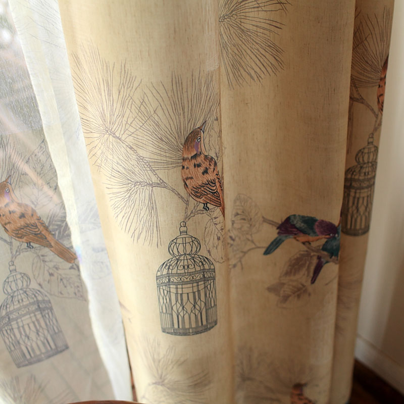 Américain rustique style Rideaux pour salon Oiseaux Imprimé ...