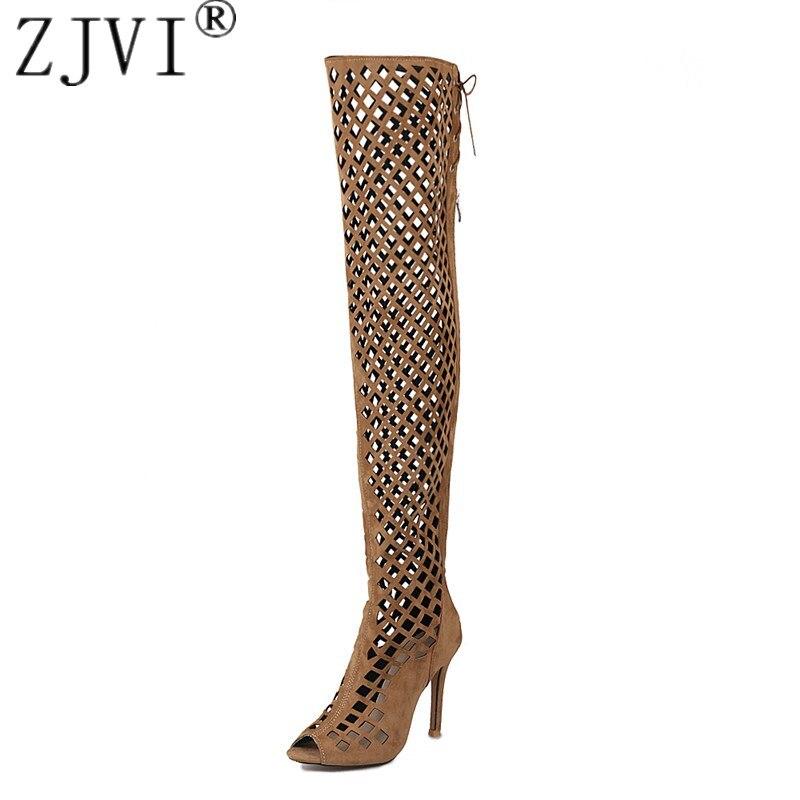 ZJVI womens nubuk über das knie stiefel frauen dünne high heels oberschenkel  hohe sommer stiefel 2018 a413dd03ed