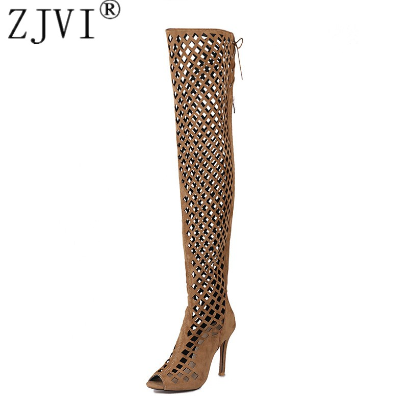 ZJVI womens nubuck over the knee boots women thin high heels thigh high summer boots 2018 woman cut outs sandals ladies shoes