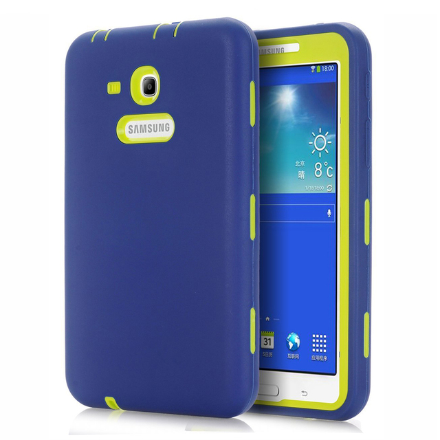Rugged Heavy Duty Shockproof Case For Samsung Galaxy Tab 3 Lite 7.0 AJAKES Silicone Cover For SM-T110/ SM-T111/ SM-T113/ T116Y77