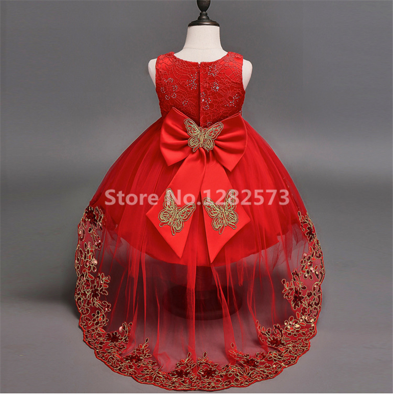 93c8814044b76 In Stock High Low Red Flower Girl Dresses Crystals 3-12Y Short First Holy  Communion Dresses for Girls Bow Pink vestido daminha