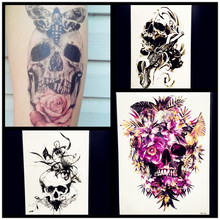 3D Waterproof Temporary Tattoo Women Large Body Art Arm Tattoo Leg Sticker 21x15CM Men Fake Flash Black Henna Tatoo Skull Decals
