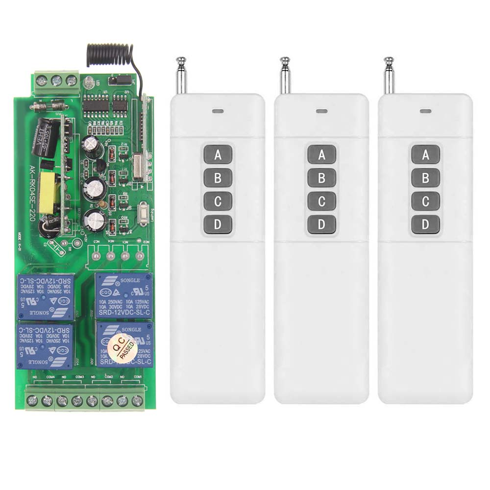 ФОТО 3000m AC 85V-265V 110V 220V 4 CH 4CH RF Wireless Remote Control Switch System Receiver + 3X Transmitter, 315 433.92 MHZ,Toggle