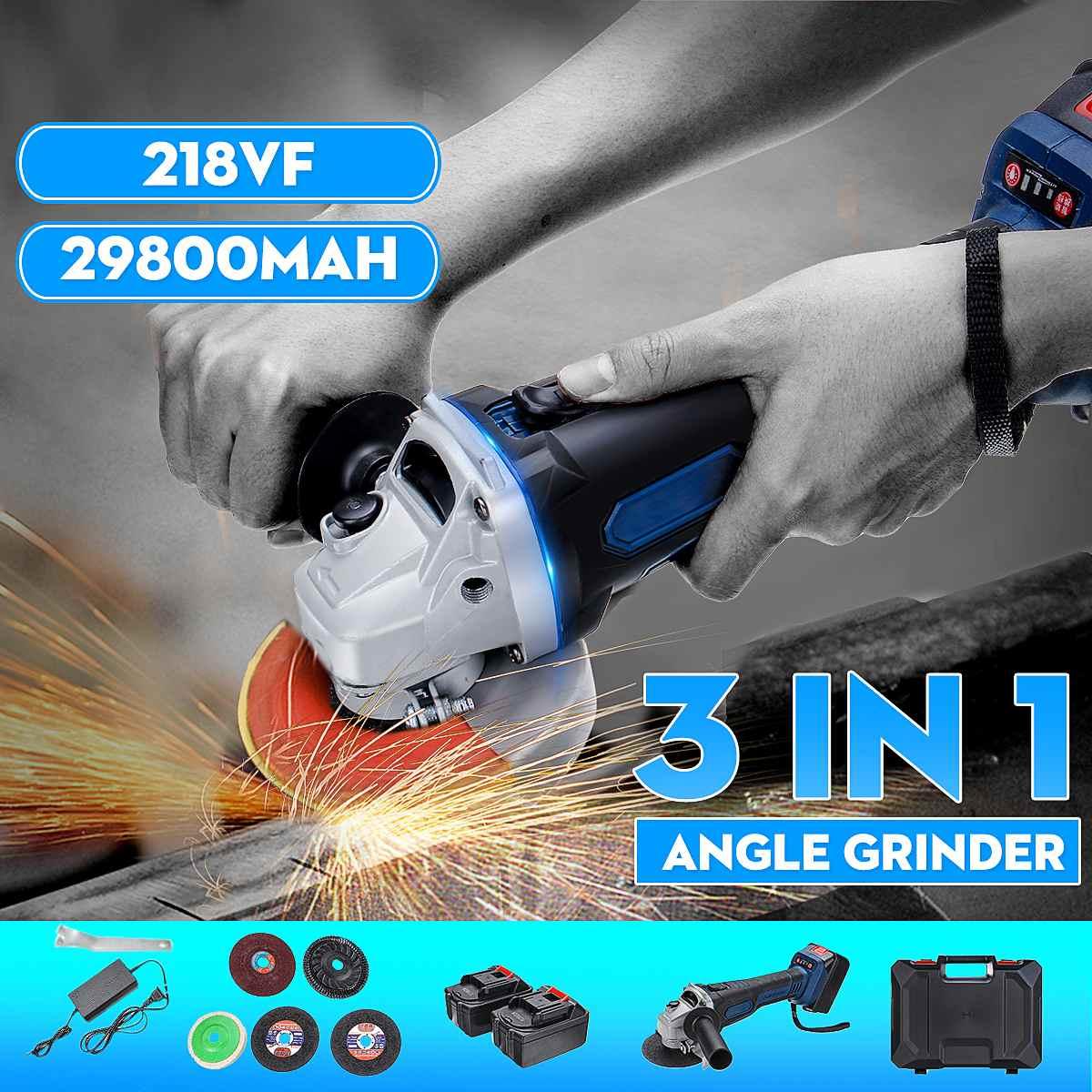 218vf 29800ma Cordless Brushless Elétrica Angle Grinder Polimento Moagem 3 em 1 Máquina de Corte Ferramenta De Corte De Energia