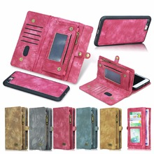 Роскошные Ретро Многофункциональный молнии сумки натуральная кожа чехол для iPhone 7 7 плюс 6 6S плюс Слот для карты Бумажник Съемный Телефон Cove