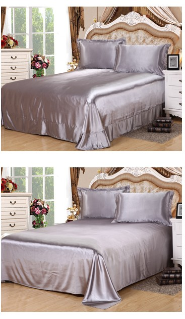 Silver Bedding Sets Super King Size Queen Full Twin Grey Duvet Cover Fitted  Silk Satin Bed Sheet Double Bedspreads Doona 6pcs In Bedding Sets From Home  ...