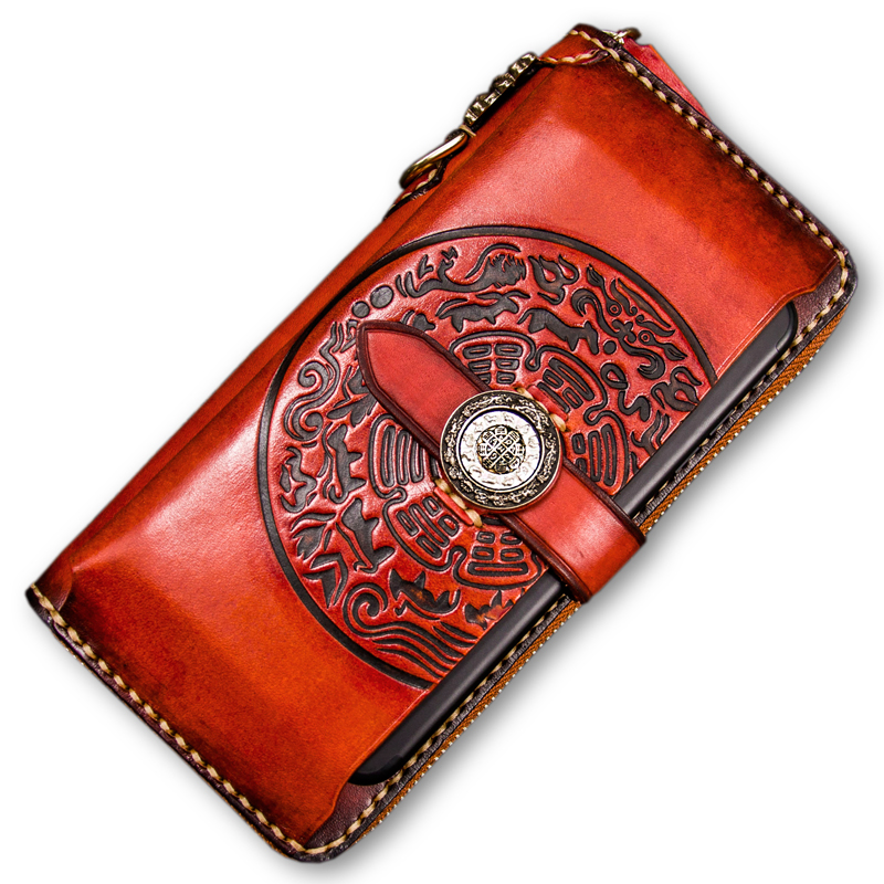 Luxury Genuine Leather Zip Men wallets Creative Fun Spin Mystery Characters Law Wheel Womens wallet and clutch purse