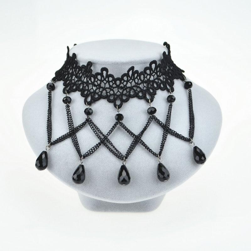 Mujeres negro Cuentas colgante joyería de la cadena del babero del ...