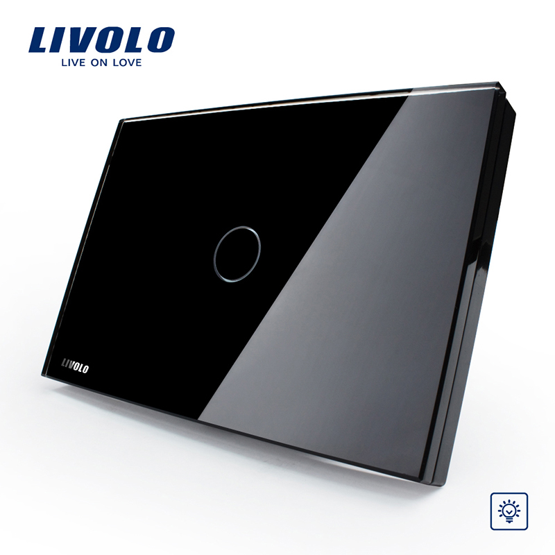 Livolo Black crystal panel wall switch, Home Light Dimmer Switch 1 Gang 1 Way VL-C301D-82, US/AU standard, Free shipping smart home us au wall touch switch white crystal glass panel 1 gang 1 way power light wall touch switch used for led waterproof