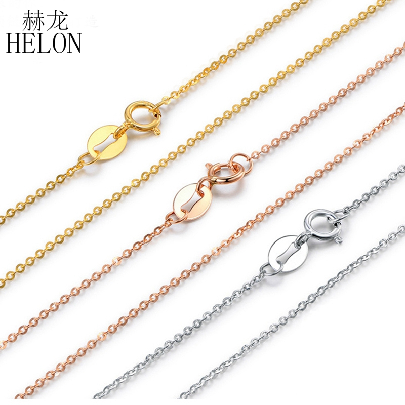 HELON Pure 18K Solid Rose Gold Yellow Gold White Gold O Shape Women Trendy Jewelry Necklaces For Engagement Pendant 40cm Chain helon solid 18k 750 rose gold 0 1ct f color lab grown moissanite diamond bracelet test positive for women trendy style jewelry