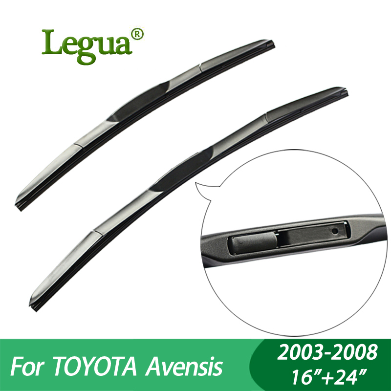 Legua Wiper blades For TOYOTA Avensis (2003-2008), 16+24,car wiper,3 Section Rubber, windscreen wiper, Car accessory wiper blades for bmw 3 series f90 f91 24