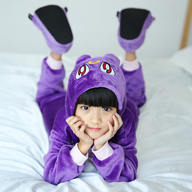 Adorable Purple Cat Kids Kigurumi Pajamas Baby One-Piece Flannel Onesie Cartoon Warm Animal Children Jumpsuit Winter Sleepwear