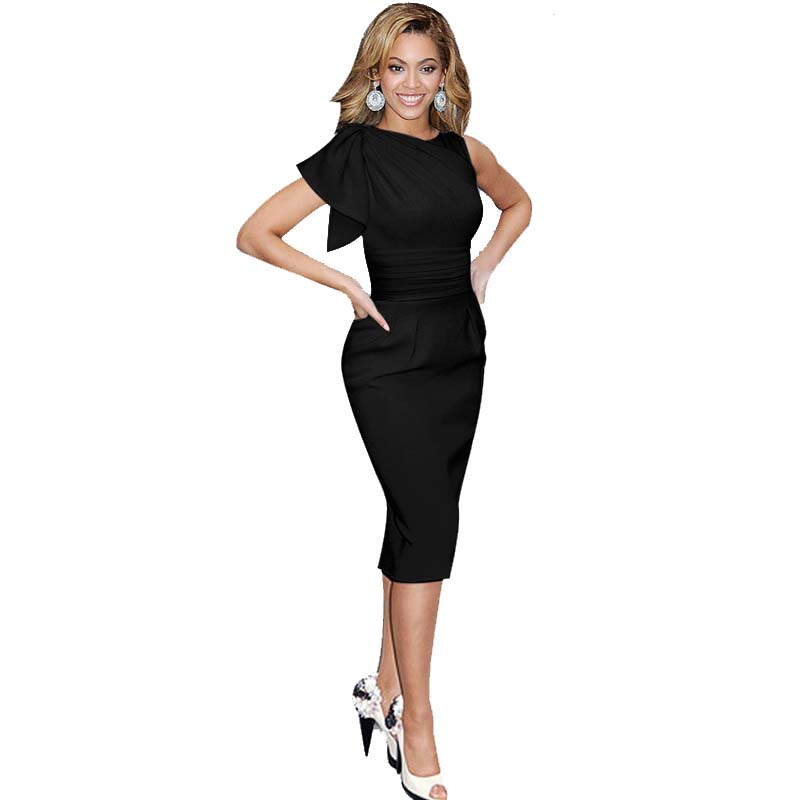 Ladies Tunic Petal Sheath Office White Black Blue Black Pencil Dress ...