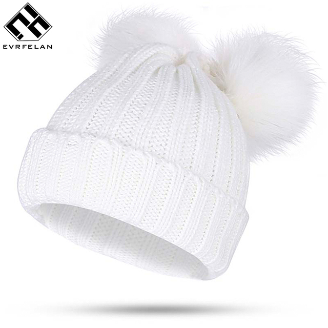76e9709751e Winter Fur Ball Cap 2 Pom Poms Winter Hat For Women Girl  S Hat Knitted