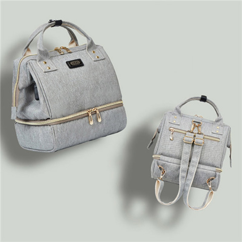 Fashion Mummy Maternity Diaper Bag Small Backpack For Moms Gray Nappy Changing Baby Bag Stroller Organizer Lunch Insulation Bags