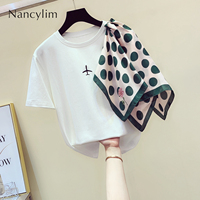Summer Fashion T Shirt Lady 2019 New Round Neck Color Irregular Scarf Stitching Short Sleeve Joker Shirt Womens Tshirt Nancylim