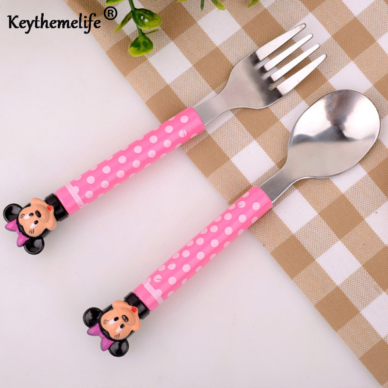 2pcs / set Cartoon Mickey Dinnerware set Tea Teaspoons Soup Ladle Kids Stainless Steel Tableware 2B