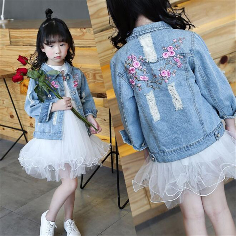 Girls Hole Denim Jackets Coats 2018 Children Long Sleeve Outwear Embroidery Girl Jean Jacket 4 6 8 10 12 Years Kids Clothes 2018 spring girls clothing sets baby teenage kids girls clothes denim coats skirts long sleeve suits outwear 8 10 12 14 years