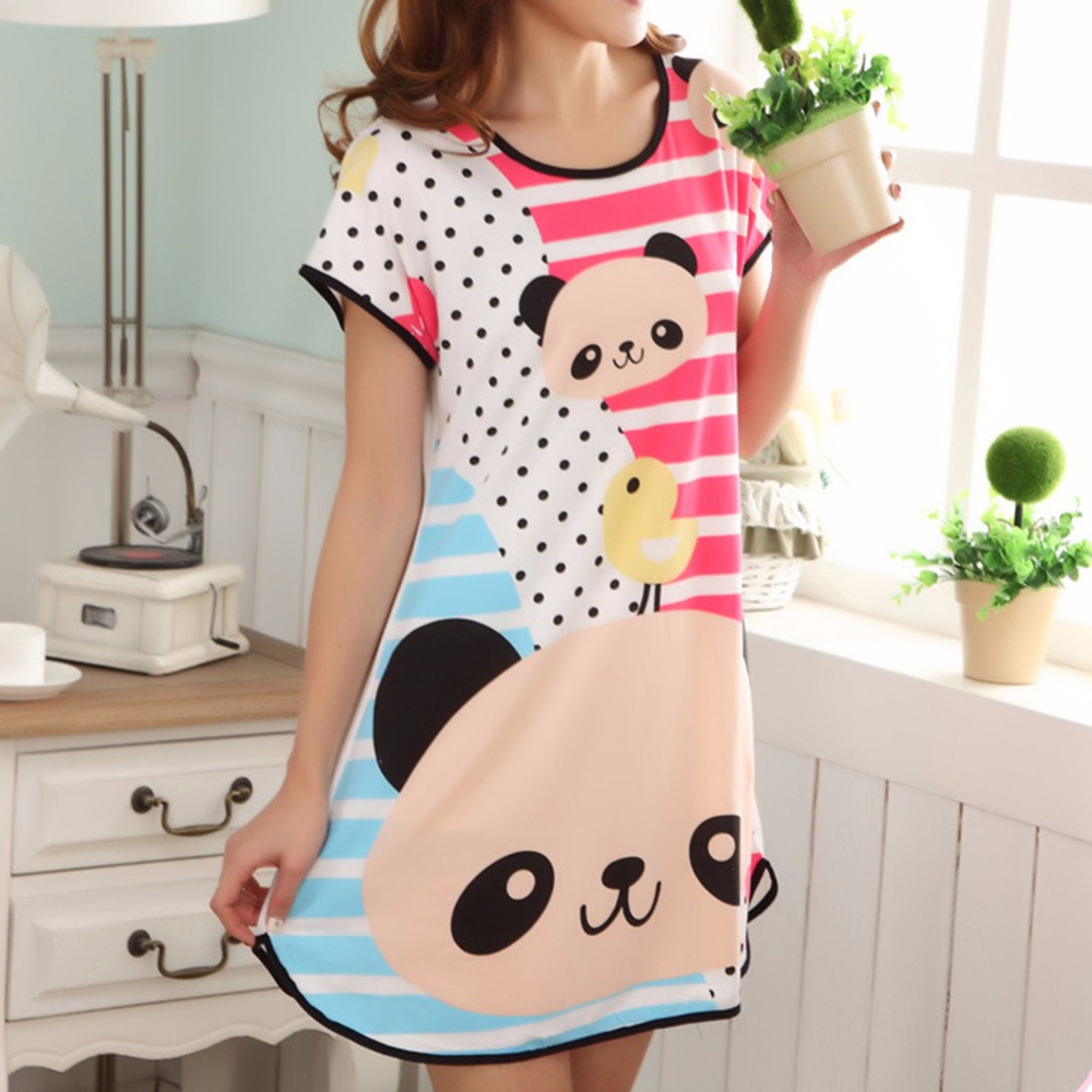 BONJEAN New womens dresses indoor clothing Cartoon Polka Dot Sleepwear Short Sleeve Sleepshirt Sleepdress nightgrowns for feme ...