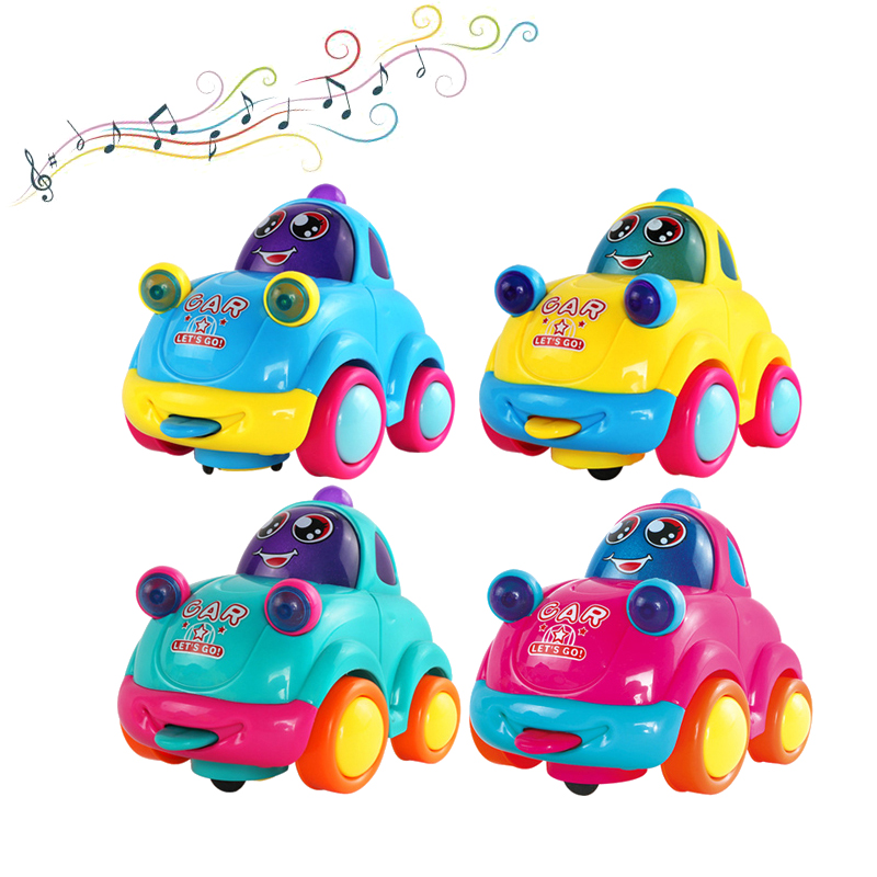 Super Cute!1PC Cartoon Colorful LED Flashing Music Inertial Car Toys Best Gifts For Newborn Color Random Wholesale random color hook 1pc
