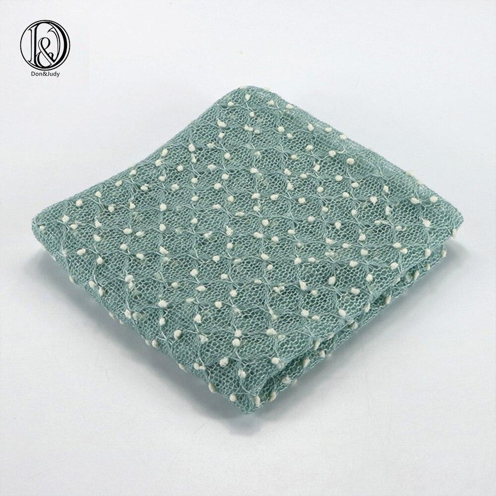 2pcs/lot (75x50cm) Acrylic Knit Small Bobble Wraps Set(wraps plus hat) Newborn Photography Props