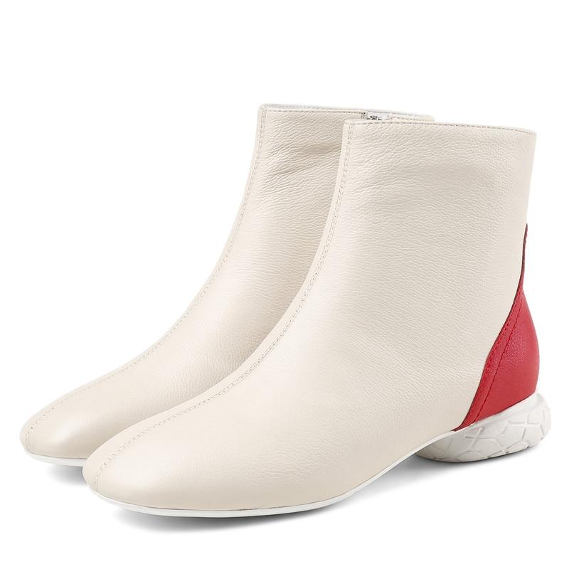 ssig Schuhe Stiefeletten Warme Leder Memunia Low Heels Winter Mode 2018 Dame SchwarzBeige Echte Zehe Frauen L Quadratische Herbst Wei 1JKTlFc