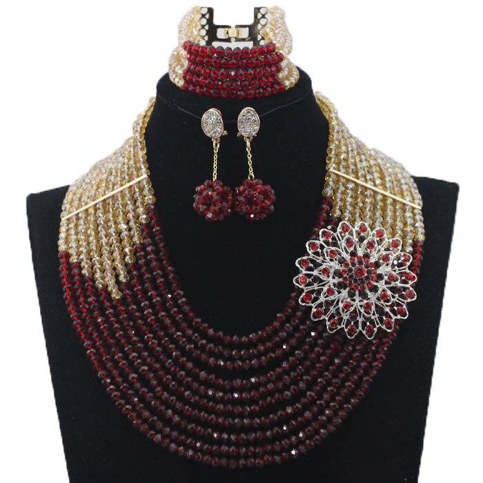 Derniers nouveaux invités de mariage perles africaines ensembles de bijoux Engagement Dubai or collier ensemble chaud livraison gratuite HX233 - 3