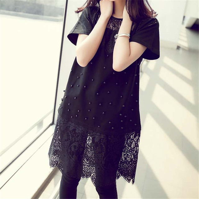 2017 NEW Summer Tops Women Plus Size Lace Blouse Loose Blusas Shirts Casual Primer Shirt Classical Black White Blouse M-4XL S459