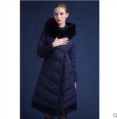 2015 New Winter Thicken Warm Woman Down jacket Coat Parkas Outerwear Hooded Rabbit Fur collar Luxury High Long Plus Size 4XXXXL top ec mens winter thicken warm smalltand collar down jacket coat