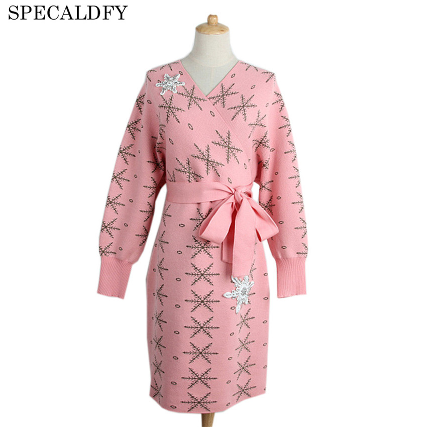 2018 Luxury Designer Spring Winter Knitted Sweaters Dresses Women Batwing Sleeve Knitted Pink Sweater Dress Party Vestidos Mujer