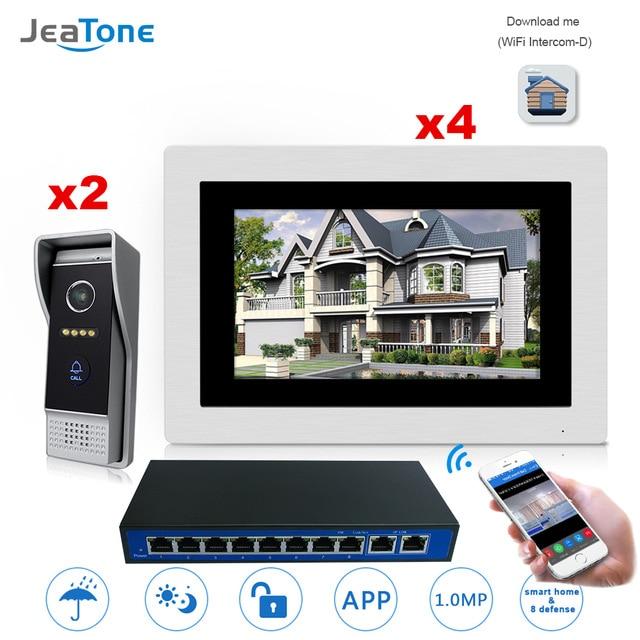 7 ''WIFI IP vidéo interphone interphone sans fil porte cloche haut-parleur système de contrôle d'accès écran tactile détection de mouvement 2 portes à 4