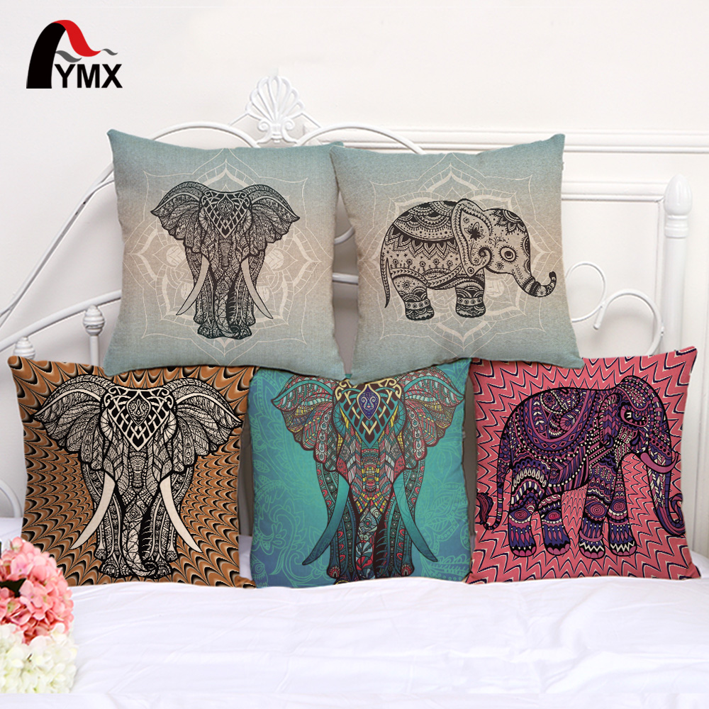 Elephant Hand - Painted Cushion Cover Creative Mandala Elephant Cotton And Linen Pillow Case For Car Sofa Decoration Cover