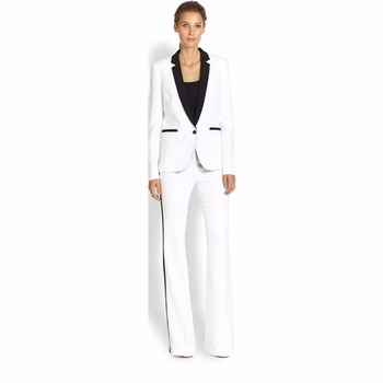 Custom Made Womens Business Suit White Female Office Uniform Ladies Formal Trouser 2 Piece Suit Single Breasted Black Lapel W74