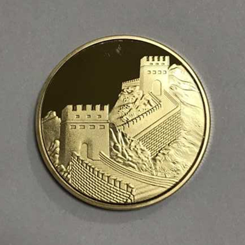 US $6 0 |1 Pc The world wonder Chinese Great wall Temple of heaven coin  gold plated 40 mm badge souvenir decoration coin-in Non-currency Coins from