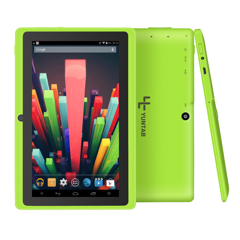 лучшая цена Yuntab Q88 7 Inch Wifi Green Color Tablet Android 4.4, Quad Core, 8G ROM 1G RAM,Dual Camera, External 3G, Allwinner A33