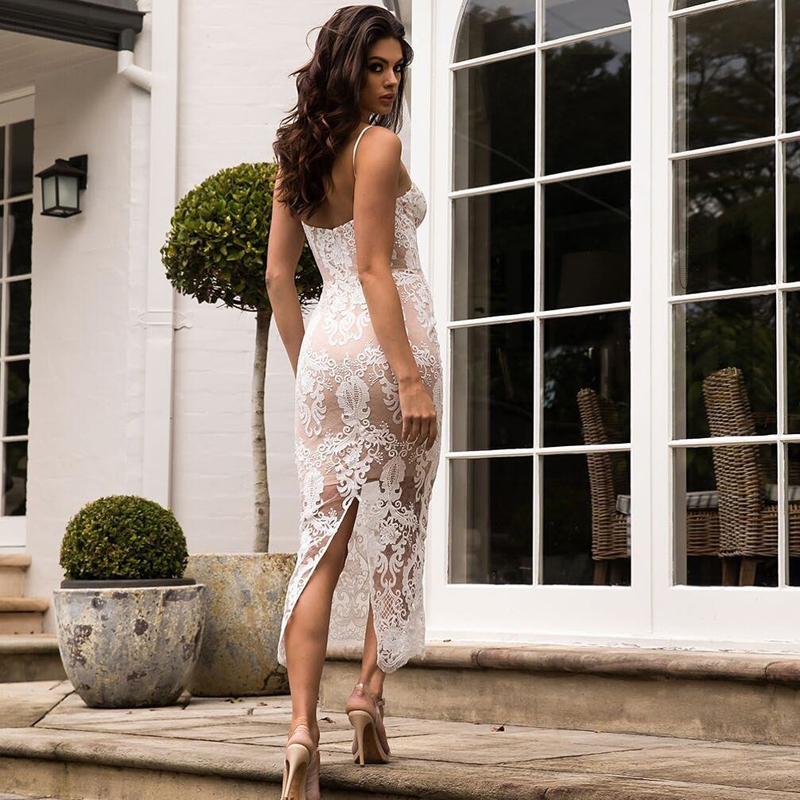 Sumemr <font><b>Fashion</b></font> <font><b>White</b></font> Lace <font><b>Dress</b></font> <font><b>2018</b></font> <font><b>New</b></font> <font><b>Women</b></font> Spaghetti Strap <font><b>Backless</b></font> Bodycon Midi Evening Party <font><b>Dresses</b></font> Vestidos Wholesale image