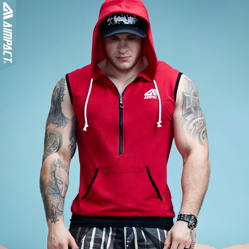 Aimpact Men's Cotton Sleeveless Hoodie Bodybuilding Crossfit Workout   Tank     Tops   Muscle Fitness Shirts Male Jackets   Top   AM1012