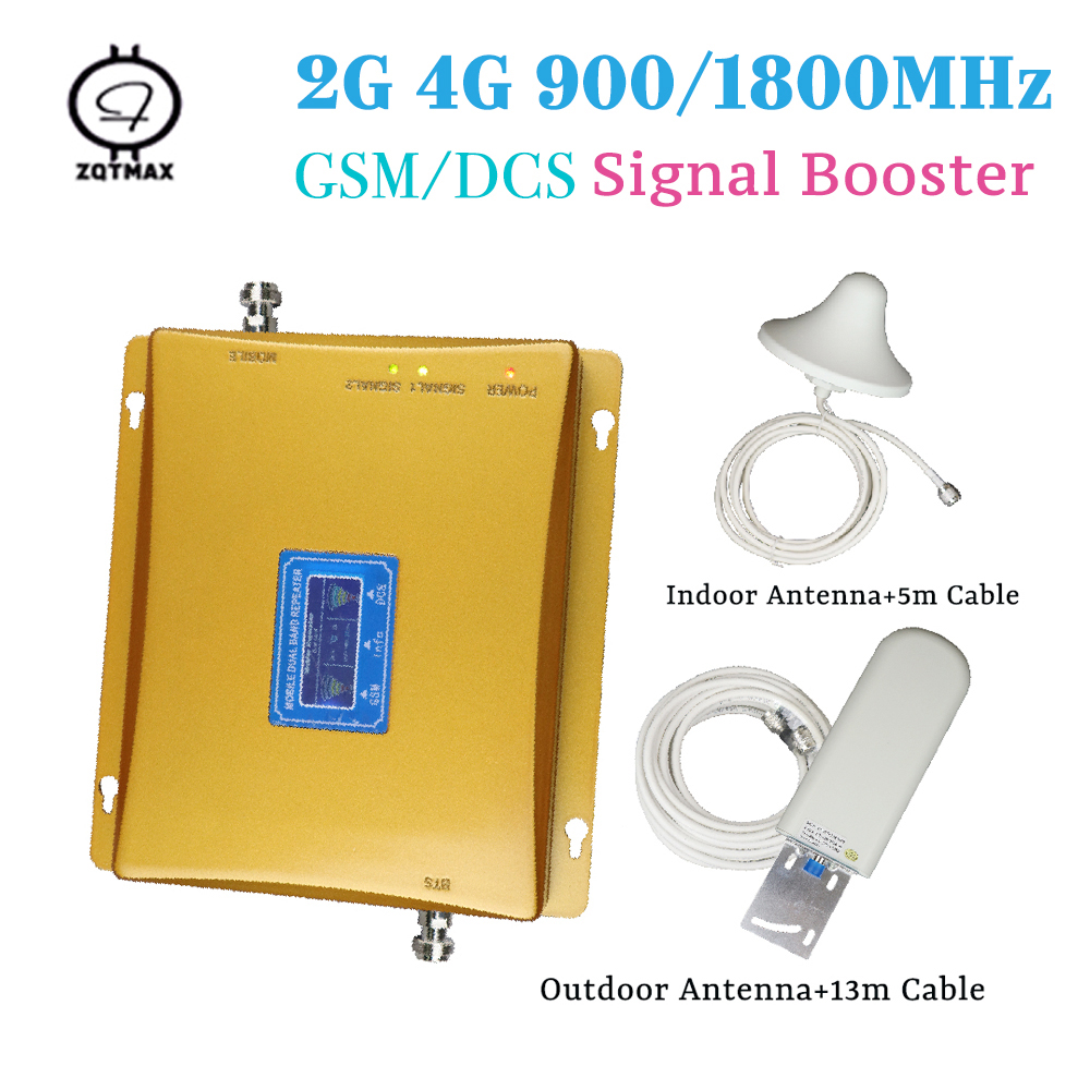 Dual Band 900MHz Gsm Repeater 4g Dcs LTE Phone Amplifier 1800MHz Cellular Mobile Booster Antenna Full Sets For Home And Office