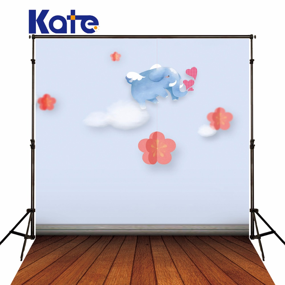 Kate Baby photography background cartoon Elephant flowers backdrops wood floor backgrounds for photo studio кукла arias elegance elian 42 см плачущая т59786