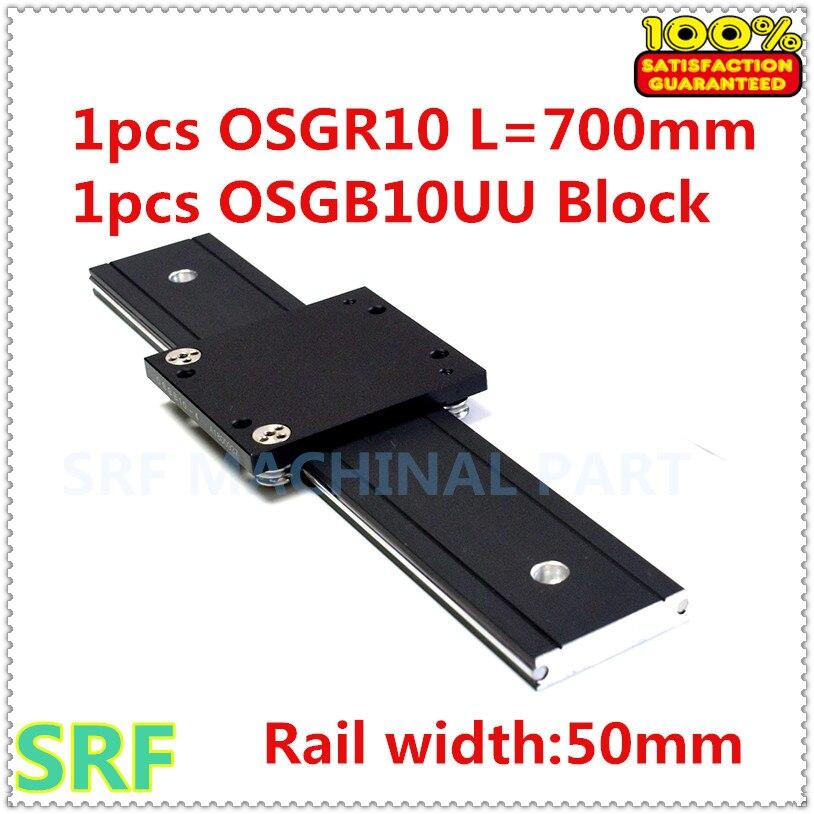 50mm width Aluminum roller linear guide rail external dual axis linear guide 1pcs OSGR10 Length 700mm
