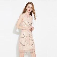 Brief beading sequined Net yarn designer O neck sleeveless elegant slim vest jacquard dresses 2017 new nice women's dresses