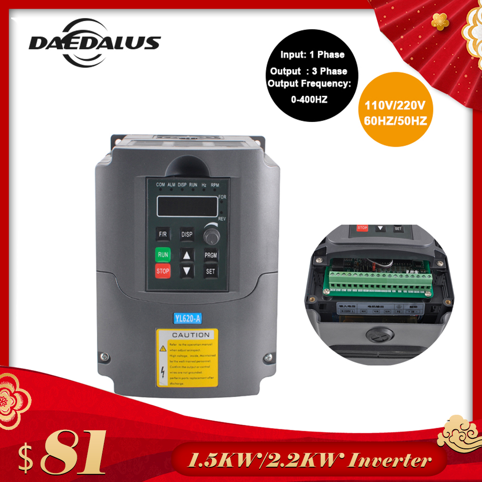2 2KW 1 5KW CNC VFD Variable Frequency Driver Inverter 110V 220V Converter Inverter Single phase