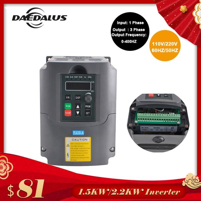 2.2KW/1.5KW CNC VFD Variable Frequency Driver Inverter 110V/220V Converter Inverter Single-phase Input For Engraver Machine