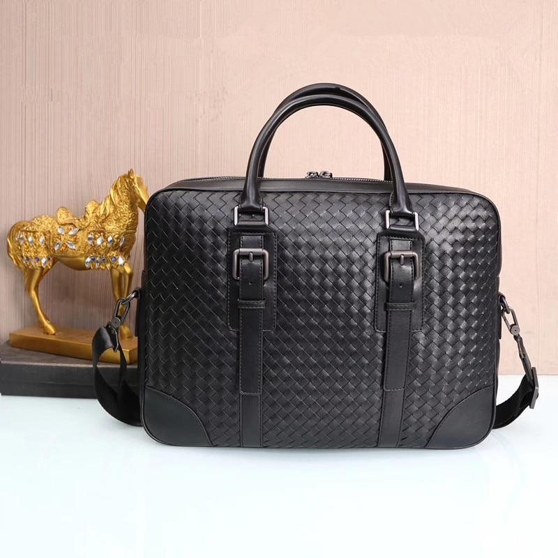 Kaisiludi Leather Men's Bag Woven Handbag Business Men's And Women's Briefcase Computer Fashion Single-shoulder Oblique Satchel