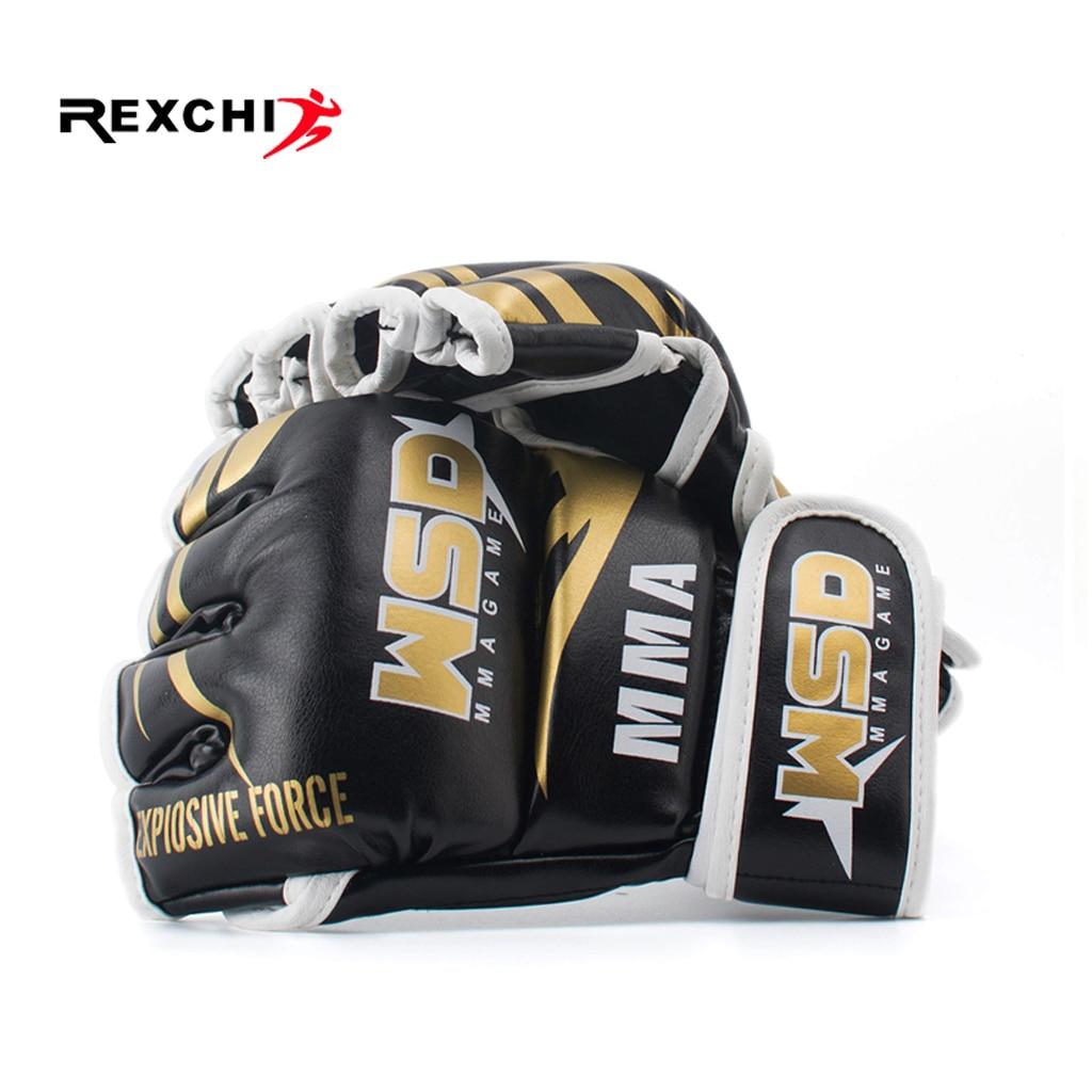 REXCHI demi doigt MMA gants pour hommes PU Kicki boxe karaté Muay Thai Guantes De Boxeo combat gratuit Sanda équipement d'entraînement