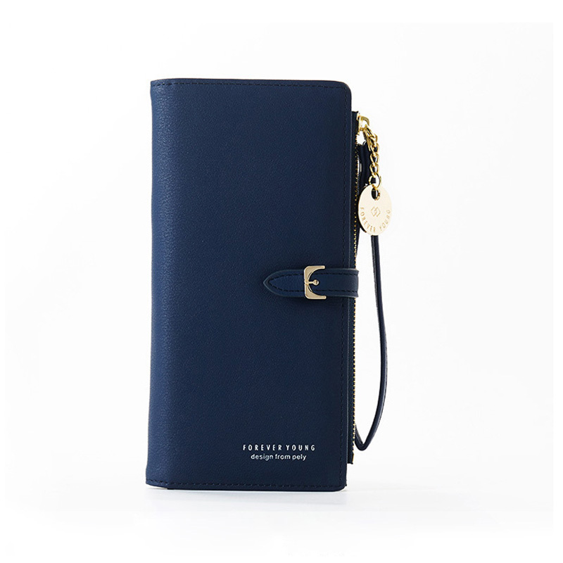 Браслет женский длинный кошелек Много отделов женские кошельки клатч Дамский кошелек на молнии карман для телефона держатель для карт дамские Carteras - Цвет: Dk Blue
