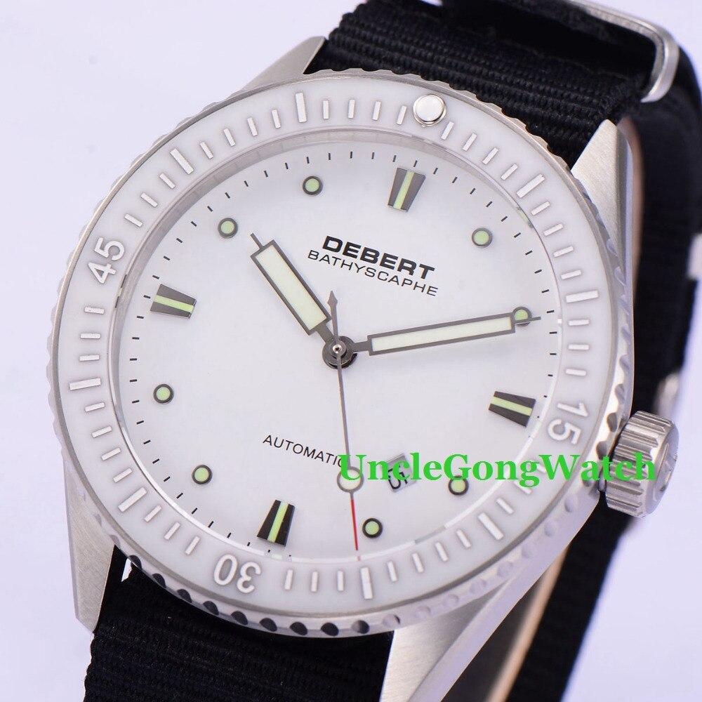 купить Debert 43mm White Dial Rotatable Ceramic Bezel Watches Sapphire Glass Orologio Miyota Movement Mens Automatic Relojes DT7032SWK по цене 9620.73 рублей