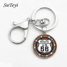 SUTEYI Fashion Handmade Key Chain Glass Cabochon Keychain Signs USA ROUTE 66 Restaurant Coffee Art Pattern Key Ring For Men(China)